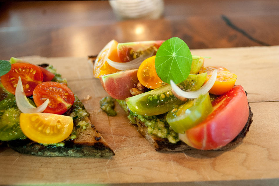 Heirloom Tomatoes on Toast at Community table